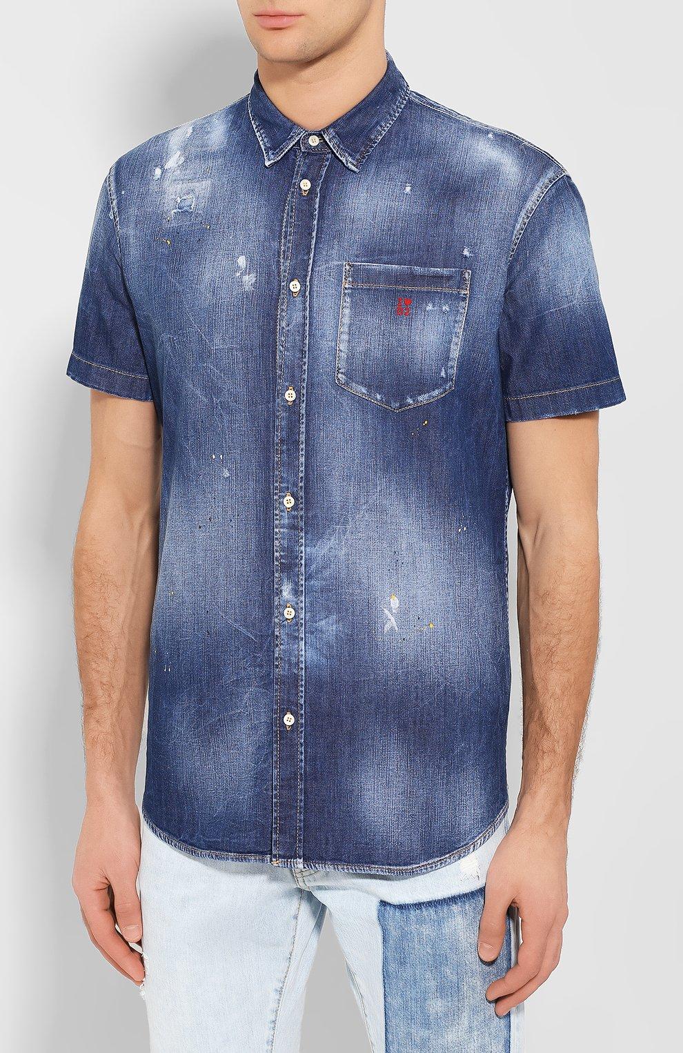 Мужская джинсовая рубашка DSQUARED2 синего цвета, арт. S74DM0374/S30341 | Фото 3