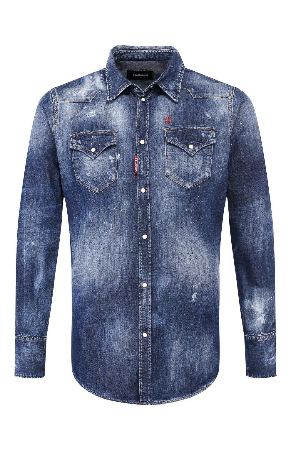 Мужская джинсовая рубашка DSQUARED2 синего цвета, арт. S74DM0392/S30341 | Фото 1 (Воротник: Кент; Рукава: Длинные; Манжеты: На кнопках; Кросс-КТ: Деним; Случай: Повседневный; Длина (для топов): Стандартные; Принт: С принтом; Материал внешний: Хлопок, Деним; Мужское Кросс-КТ: Рубашка-одежда; Статус проверки: Проверена категория)
