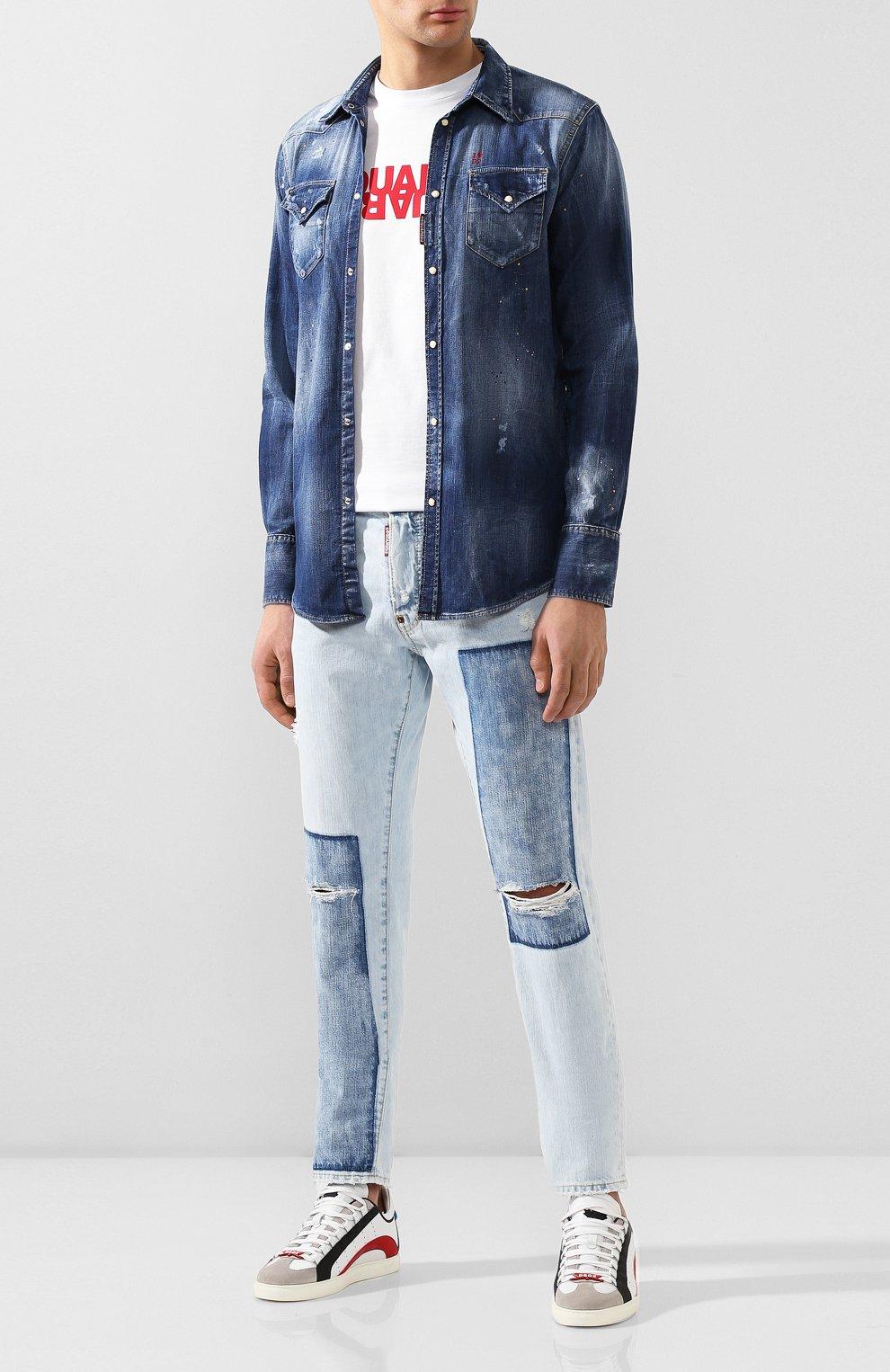 Мужская джинсовая рубашка DSQUARED2 синего цвета, арт. S74DM0392/S30341 | Фото 2 (Воротник: Кент; Рукава: Длинные; Манжеты: На кнопках; Кросс-КТ: Деним; Случай: Повседневный; Длина (для топов): Стандартные; Принт: С принтом; Материал внешний: Хлопок, Деним; Мужское Кросс-КТ: Рубашка-одежда; Статус проверки: Проверена категория)
