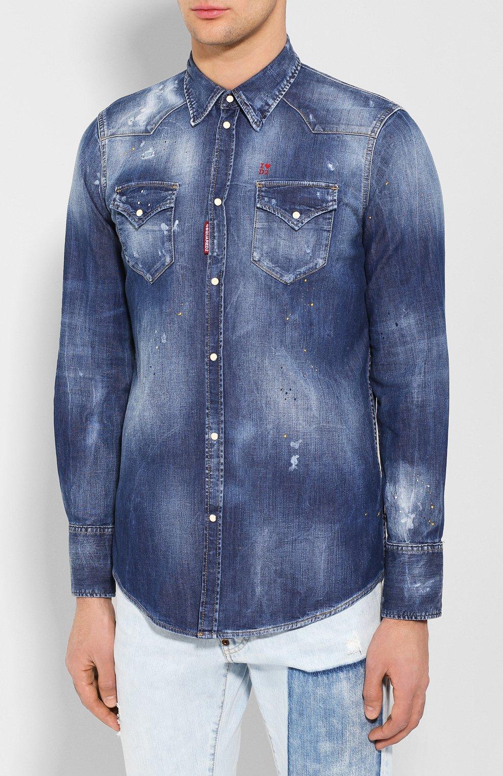 Мужская джинсовая рубашка DSQUARED2 синего цвета, арт. S74DM0392/S30341 | Фото 3 (Воротник: Кент; Рукава: Длинные; Манжеты: На кнопках; Кросс-КТ: Деним; Случай: Повседневный; Длина (для топов): Стандартные; Принт: С принтом; Материал внешний: Хлопок, Деним; Мужское Кросс-КТ: Рубашка-одежда; Статус проверки: Проверена категория)