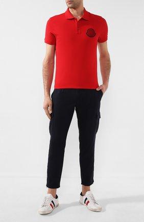 Мужское хлопковое поло MONCLER красного цвета, арт. F1-091-8A704-00-84556 | Фото 2