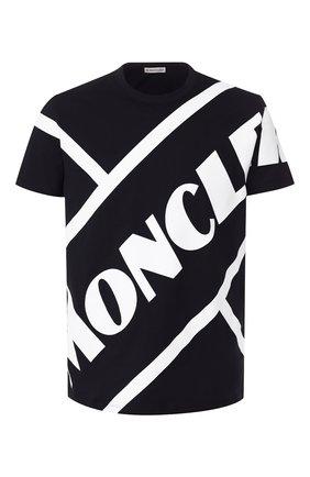 Мужская хлопковая футболка MONCLER темно-синего цвета, арт. F1-091-8C706-10-8390T | Фото 1