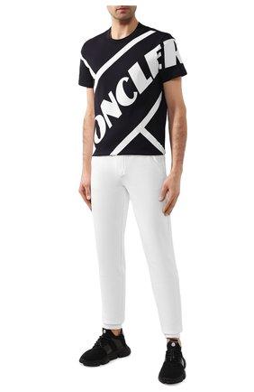 Мужская хлопковая футболка MONCLER темно-синего цвета, арт. F1-091-8C706-10-8390T | Фото 2
