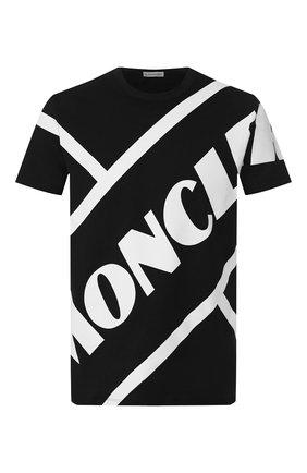 Мужская хлопковая футболка MONCLER черного цвета, арт. F1-091-8C706-10-8390T | Фото 1