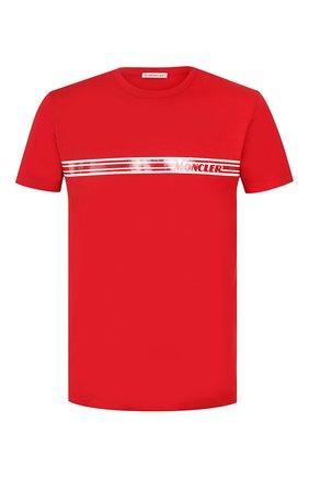 Мужская хлопковая футболка MONCLER красного цвета, арт. F1-091-8C707-10-8390T   Фото 1