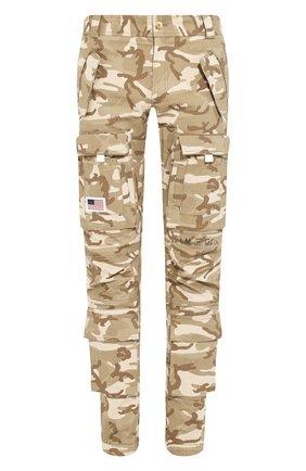 Мужской хлопковые брюки PALM ANGELS хаки цвета, арт. PMCA060R207370239988 | Фото 1