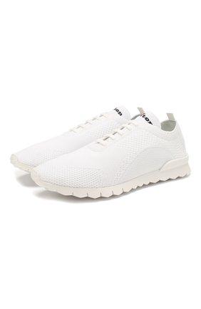 Мужские текстильные кроссовки KITON белого цвета, арт. USSFITSN00609 | Фото 1 (Подошва: Плоская; Материал внешний: Текстиль; Материал внутренний: Натуральная кожа; Статус проверки: Проверена категория; Стили: Спорт)
