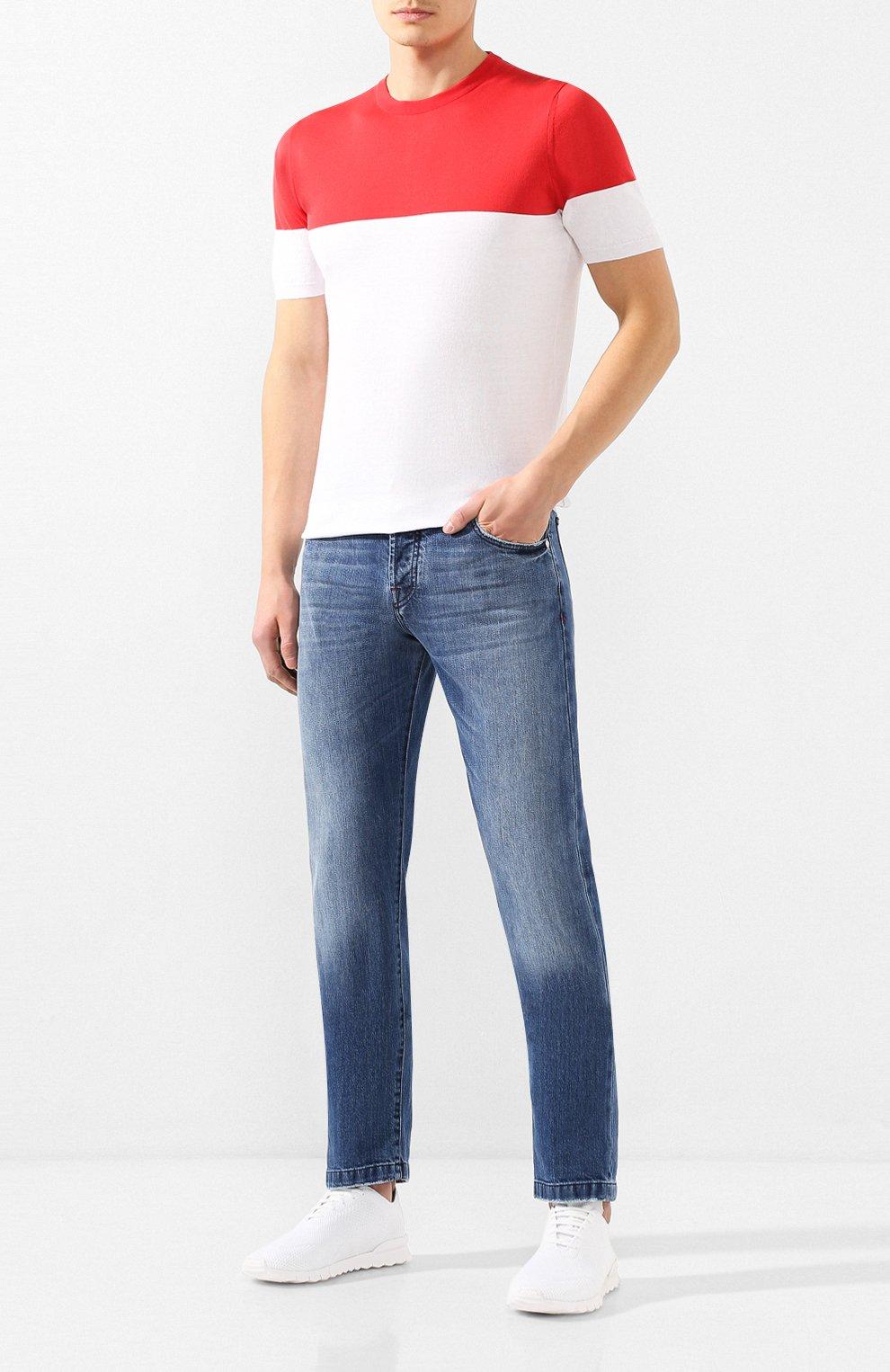 Мужские текстильные кроссовки KITON белого цвета, арт. USSFITSN00609 | Фото 2