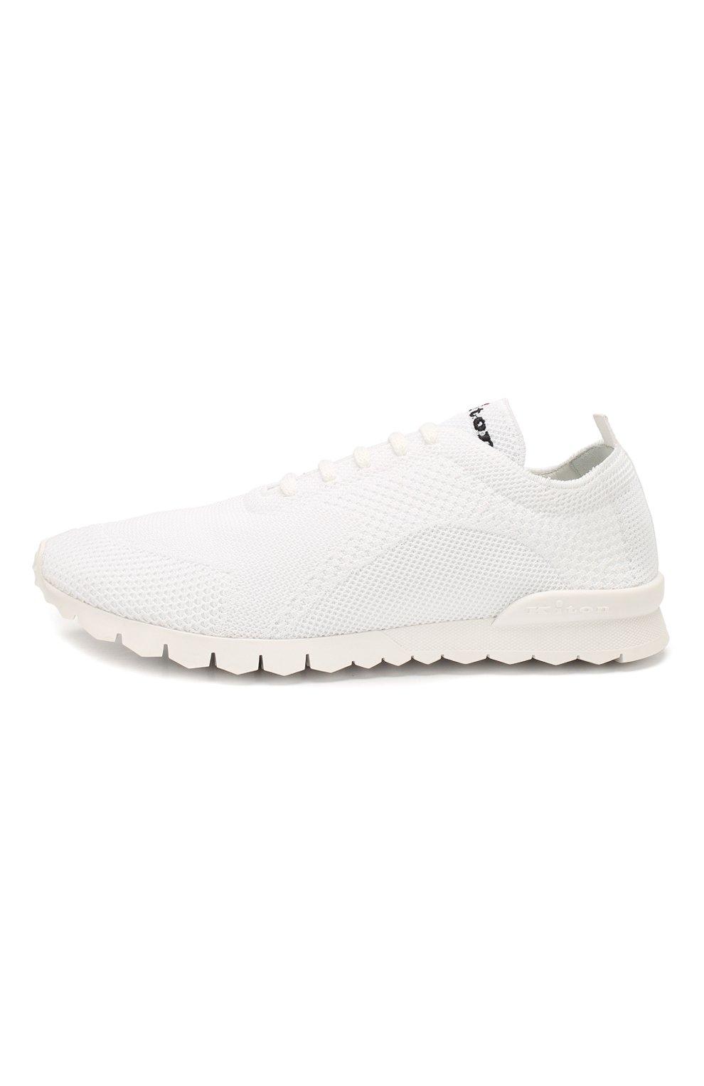 Мужские текстильные кроссовки KITON белого цвета, арт. USSFITSN00609 | Фото 3