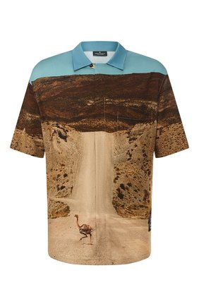 Мужская рубашка из вискозы MARCELO BURLON разноцветного цвета, арт. CMGA052R20FAB002 | Фото 1 (Рукава: Короткие; Длина (для топов): Стандартные; Случай: Повседневный)