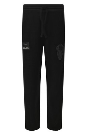Мужской хлопковые брюки MARCELO BURLON черного цвета, арт. CMCH022R20FLE002   Фото 1