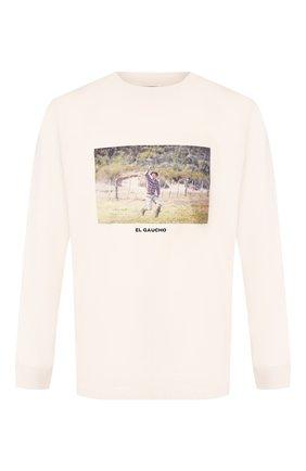 Мужская хлопковый лонгслив MARCELO BURLON бежевого цвета, арт. CMAB007R20JER007   Фото 1