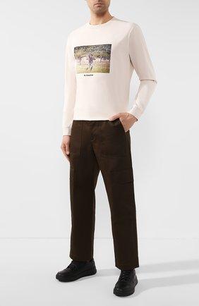Мужская хлопковый лонгслив MARCELO BURLON бежевого цвета, арт. CMAB007R20JER007   Фото 2