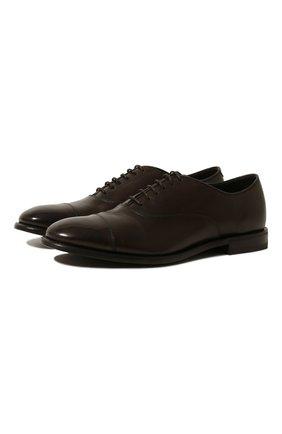 Мужские кожаные оксфорды H`D`S`N BARACCO темно-коричневого цвета, арт. 70302.3* | Фото 1 (Материал внутренний: Натуральная кожа; Статус проверки: Проверена категория; Стили: Классический)