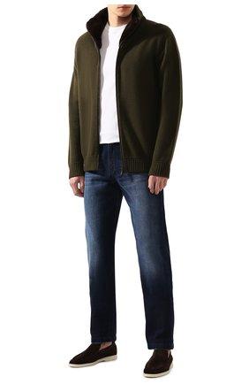 Мужской кашемировый кардиган с меховой отделкой LORO PIANA темно-зеленого цвета, арт. FAI7558 | Фото 2 (Материал внешний: Шерсть, Кашемир; Длина (для топов): Стандартные; Стили: Кэжуэл; Рукава: Длинные; Мужское Кросс-КТ: Кардиган-одежда)