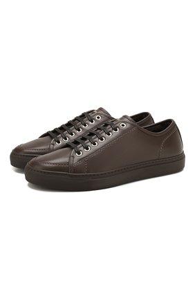 Мужские кожаные кеды BRIONI темно-коричневого цвета, арт. QHH40L/P9730 | Фото 1