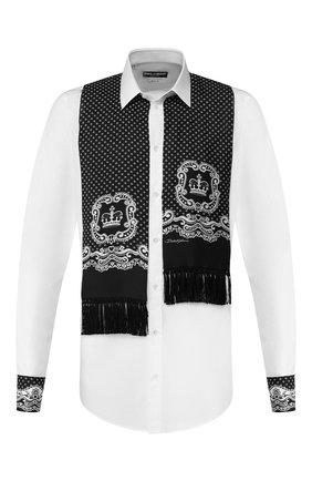 Мужская хлопковая рубашка DOLCE & GABBANA черно-белого цвета, арт. G5HH4Z/FU5K9   Фото 1