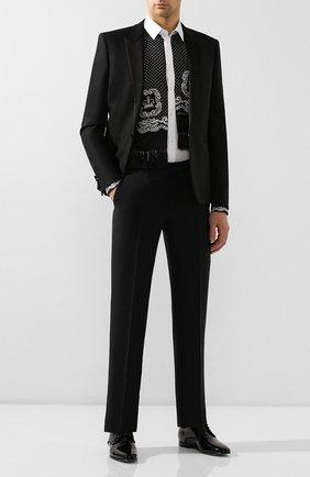 Мужская хлопковая рубашка DOLCE & GABBANA черно-белого цвета, арт. G5HH4Z/FU5K9   Фото 2