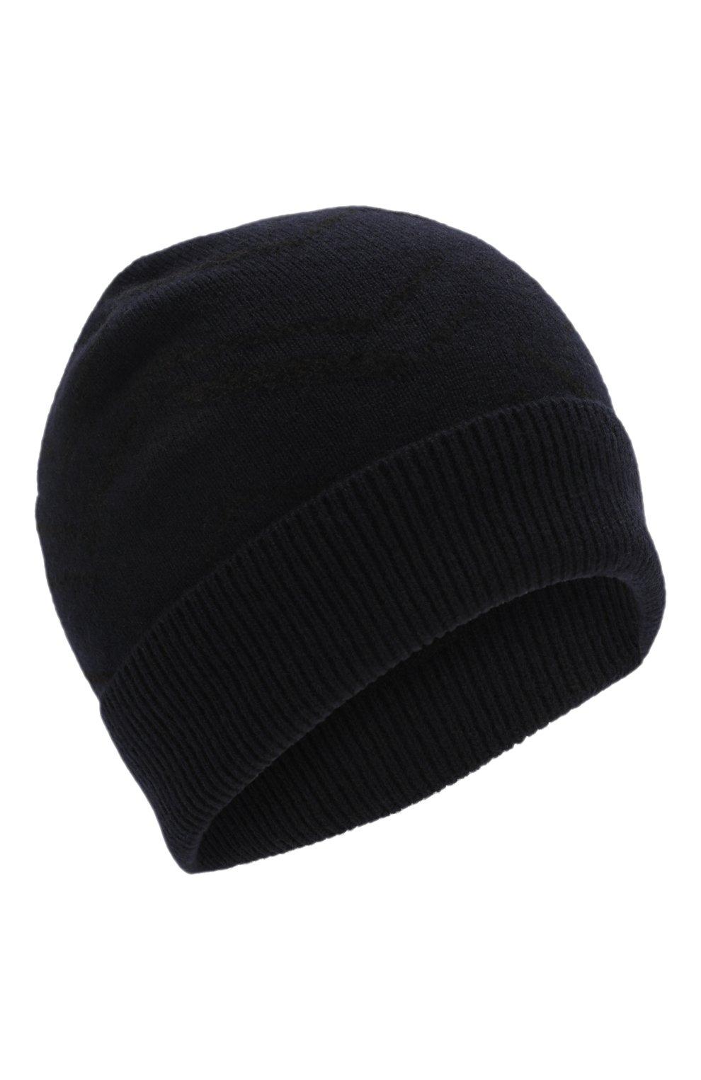 Мужская шапка из смеси кашемира и хлопка GIORGIO ARMANI темно-синего цвета, арт. 747303/0P605 | Фото 1