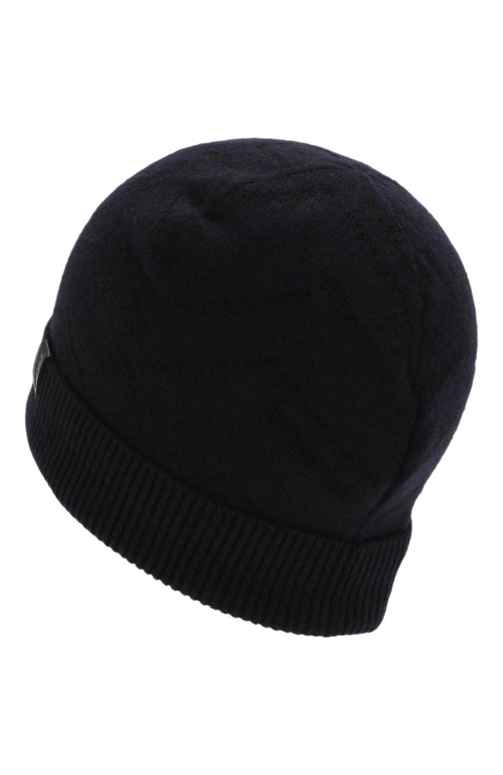 Мужская шапка из смеси кашемира и хлопка GIORGIO ARMANI темно-синего цвета, арт. 747303/0P605 | Фото 2