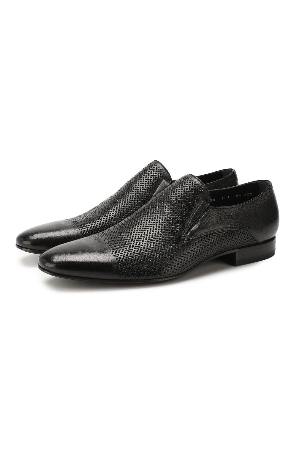 Мужские кожаные лоферы ALDO BRUE черного цвета, арт. AB4095J-MP   Фото 1