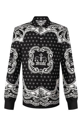 Мужская шелковая сорочка DOLCE & GABBANA черно-белого цвета, арт. G5EM2T/FI1KT | Фото 1