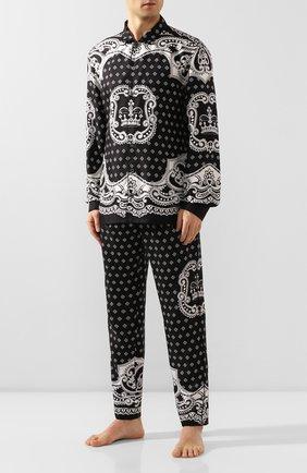 Мужская шелковая сорочка DOLCE & GABBANA черно-белого цвета, арт. G5EM2T/FI1KT | Фото 2