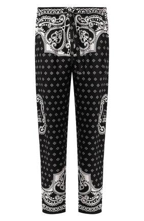 Мужские шелковые домашние брюки DOLCE & GABBANA черно-белого цвета, арт. GYB0HT/FI1KU   Фото 1