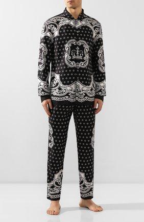 Мужские шелковые домашние брюки DOLCE & GABBANA черно-белого цвета, арт. GYB0HT/FI1KU   Фото 2