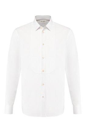 Мужская хлопковая сорочка SAINT LAURENT белого цвета, арт. 504104/Y217W | Фото 1