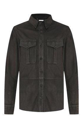Мужская замшевая рубашка RALPH LAUREN темно-серого цвета, арт. 790654923 | Фото 1