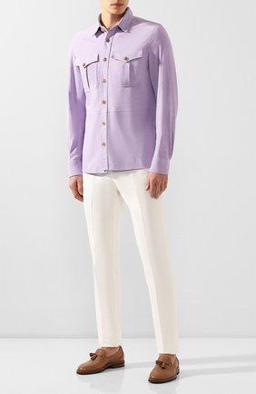Мужская замшевая рубашка RALPH LAUREN сиреневого цвета, арт. 790654923 | Фото 2
