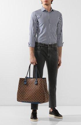 Мужская двусторонняя кожаная сумка MOREAU коричневого цвета, арт. SVINLDIITTTRSTB | Фото 2