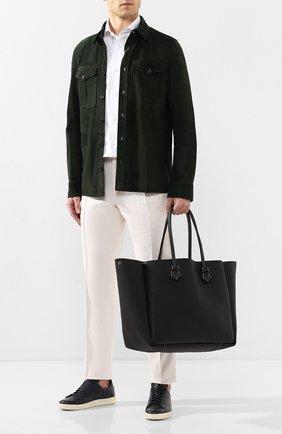 Мужская двусторонняя кожаная сумка MOREAU черного цвета, арт. SVINLDTTITTTSTB | Фото 2
