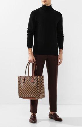 Мужская двусторонняя кожаная сумка MOREAU коричневого цвета, арт. SVINMDIITTTRSTB | Фото 2