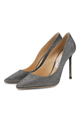 Женская туфли romy 100 JIMMY CHOO серого цвета, арт. R0MY 100/LAG | Фото 1