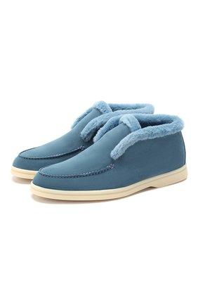 Женские замшевые ботинки open walk LORO PIANA голубого цвета, арт. FAG3602 | Фото 1