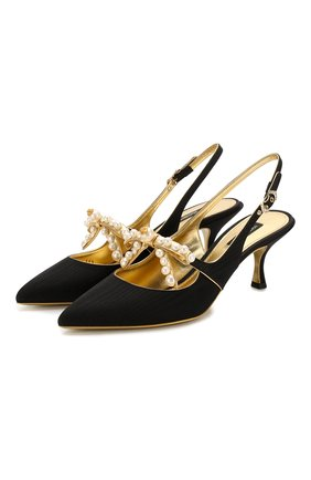 Женская текстильные туфли lori DOLCE & GABBANA черного цвета, арт. CG0373/AJ696 | Фото 1