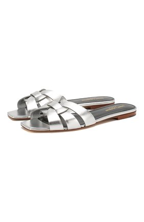 Женские кожаные шлепанцы nu pieds SAINT LAURENT серебряного цвета, арт. 572735/0PS00 | Фото 1