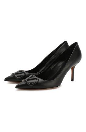 Женская кожаные туфли valentino garavani vlogo VALENTINO черного цвета, арт. TW2S0R78/MZF | Фото 1