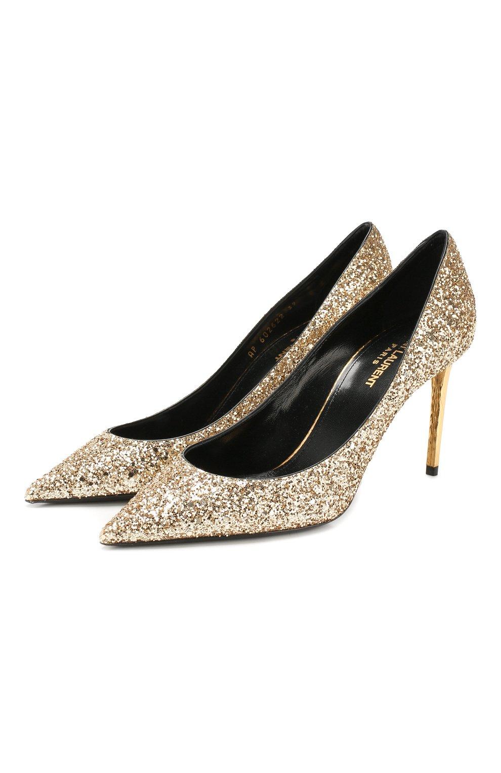 Женские туфли zoe SAINT LAURENT золотого цвета, арт. 602622/EXVM0   Фото 1