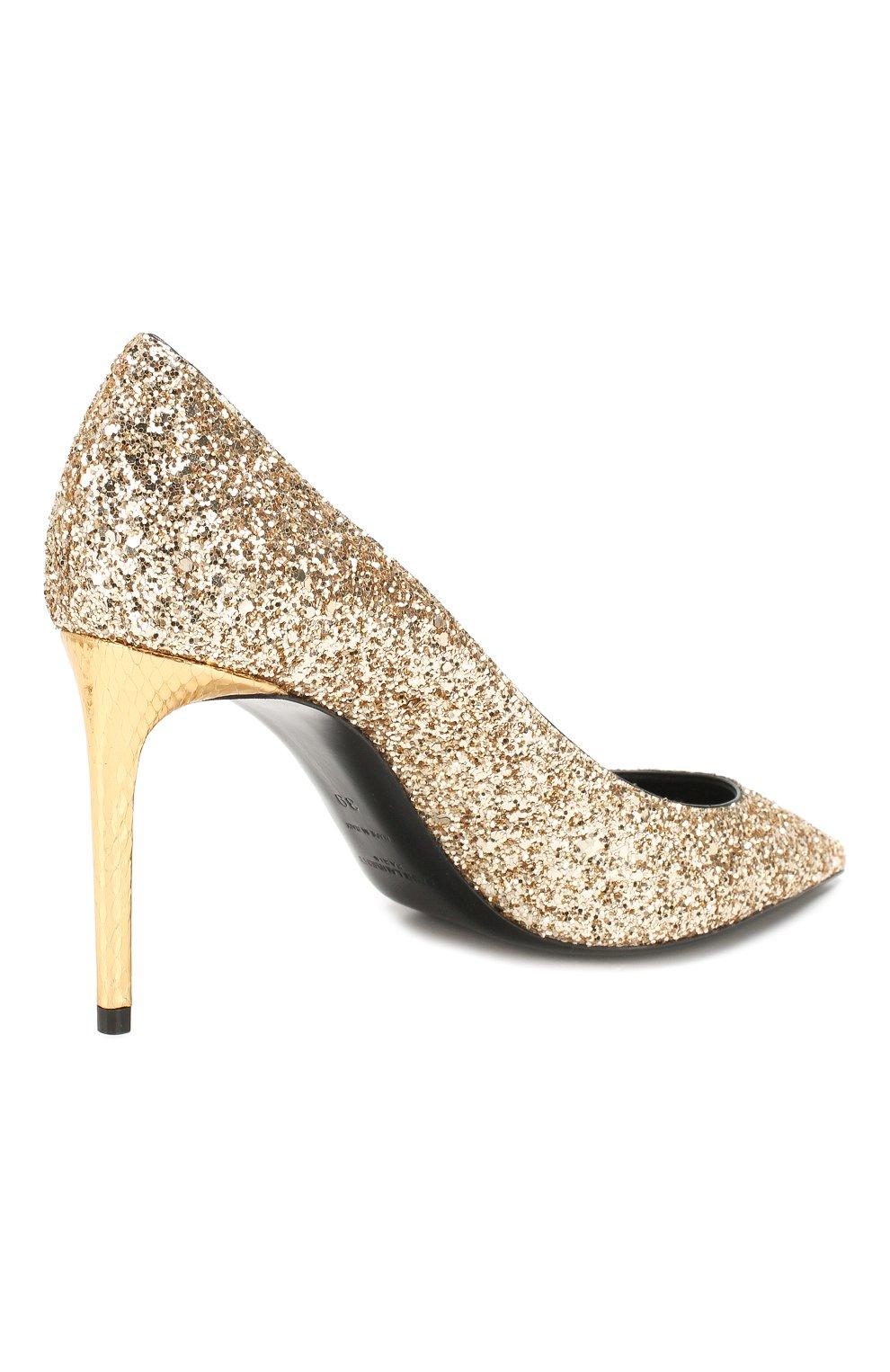 Женские туфли zoe SAINT LAURENT золотого цвета, арт. 602622/EXVM0   Фото 4