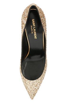Женские туфли zoe SAINT LAURENT золотого цвета, арт. 602622/EXVM0   Фото 5