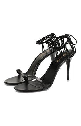 Женские кожаные босоножки lexi SAINT LAURENT черного цвета, арт. 606493/1N800 | Фото 1