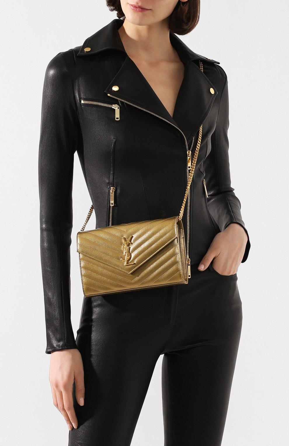 Женская сумка monogram classic SAINT LAURENT золотого цвета, арт. 377828/03X21   Фото 2