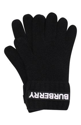 Женские кашемировые перчатки BURBERRY черного цвета, арт. 8025726   Фото 1