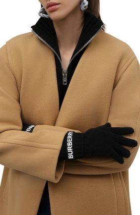 Женские кашемировые перчатки BURBERRY черного цвета, арт. 8025726   Фото 2