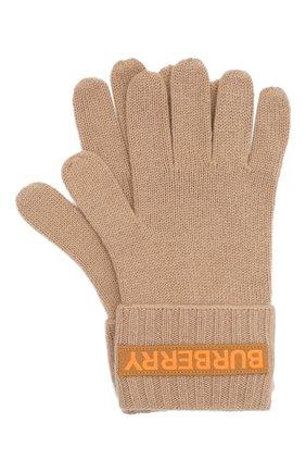 Женские кашемировые перчатки BURBERRY бежевого цвета, арт. 8025725 | Фото 1