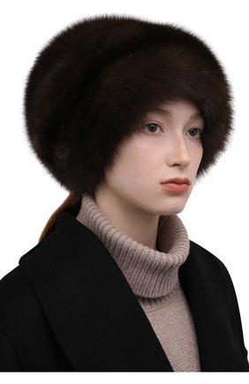 Женская шапка из меха соболя KUSSENKOVV коричневого цвета, арт. 063500003682   Фото 2 (Материал: Натуральный мех)