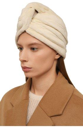 Женская шапка из меха норки KUSSENKOVV бежевого цвета, арт. 141210012272   Фото 2 (Материал: Натуральный мех)